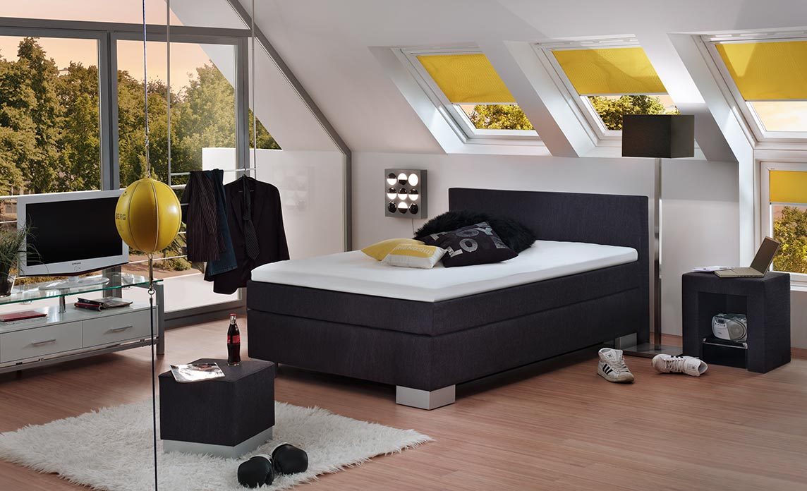 boxspring m belhaus fr hling. Black Bedroom Furniture Sets. Home Design Ideas